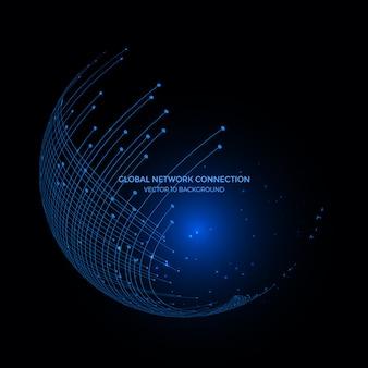 地球地球背景、インターネットビジネスのための通信技術の周りの接続線。