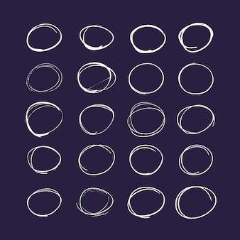 手描きのカラフルな矢印と線のセット。蛍光ペン要素