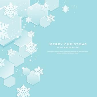 Рождественский фон с белыми снежинками на синем фоне