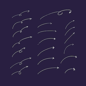 手描きの矢印と線のセット。