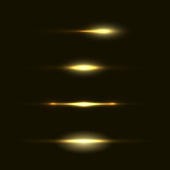 フラッシュ、ライト、スパークのセット。透明な背景に分離された抽象的な黄金色のライト。明るい金色の閃光とまぶしさ