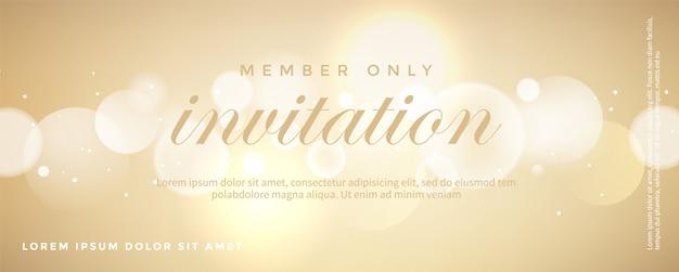 豪華な黄金の招待状カードのテンプレート