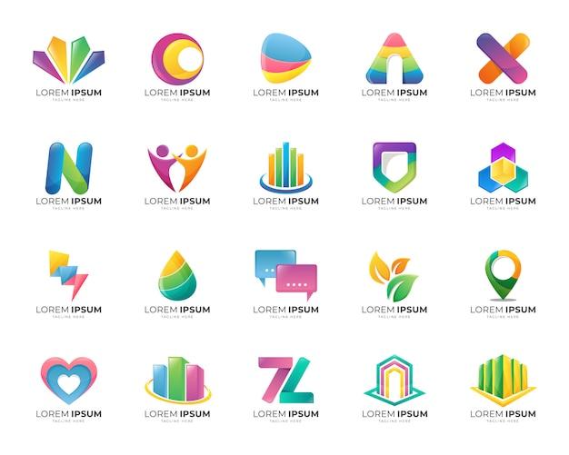 カラフルな抽象的なグラデーションロゴテンプレートセットのコレクション