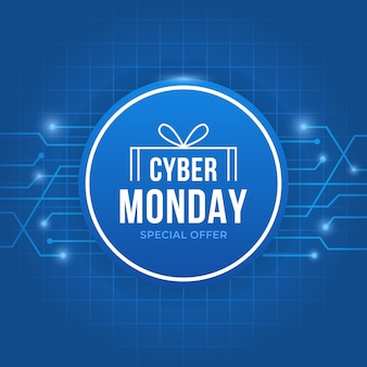Синий кибер понедельник с текстом внутри круга