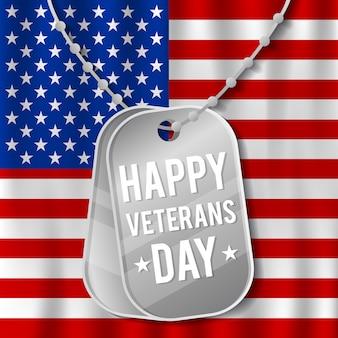 Счастливый день ветеранов с развевающимся флагом и военным ожерельем