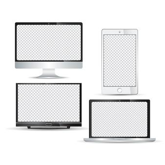 Набор реалистичных технологий устройства монитора ноутбука жк-телевизор смартфона