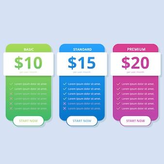 ウェブサイトにカラフルなシンプルな価格表リスト