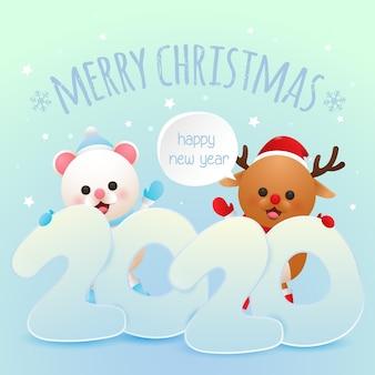メリークリスマスと幸せな新年のグリーティングカードかわいい鹿とシロクマベクトル