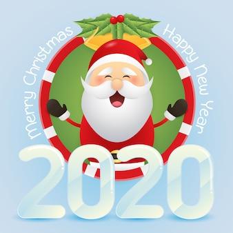 メリークリスマスとかわいいサンタクロースと幸せな新年のグリーティングカード