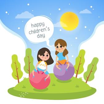 女の子と幸せな子供の日のイラストは公園で遊ぶ
