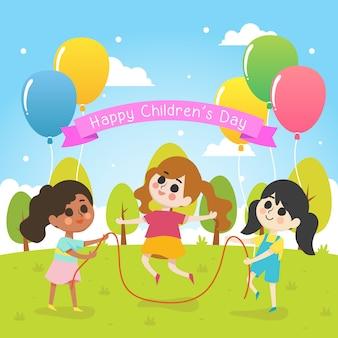 Иллюстрация дня счастливых детей с группой девушки играют вместе
