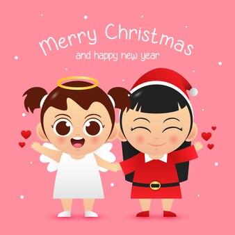 メリークリスマスのかわいいキャラクターの女の子天使とサンタの衣装