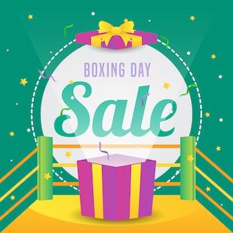 День подарков продажи баннер с коробкой в векторной иллюстрации продвижение кольца