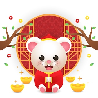 新年の中国の中国の衣装を着てかわいいネズミ