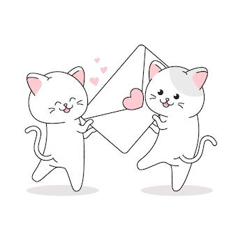Симпатичная пара кошек висит любовное письмо