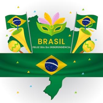 День независимости бразилии, карнавал с орнаментом и флагом