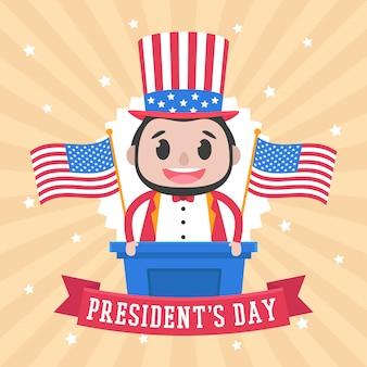 День президента с персонажем мультфильма и флагом.