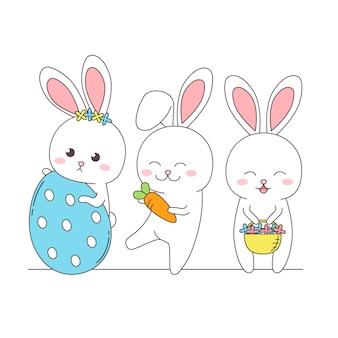 Группа счастливый милый кролик в весенний сезон