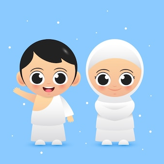 Две милые мусульманские ребенка носить хадж наряд иллюстрации