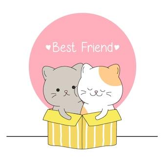 友達とボックスで幸せなかわいい猫