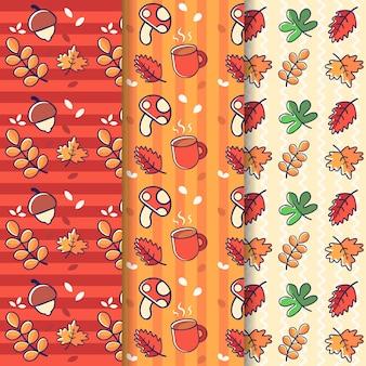 セットの秋の季節のかわいいパターン