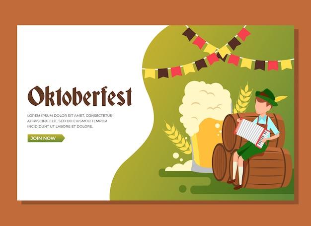 オクトーバーフェストを祝うためにアコーディオンを演奏する樽に座っている男の着陸ページ