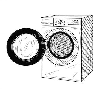 白い背景で隔離の洗濯機。