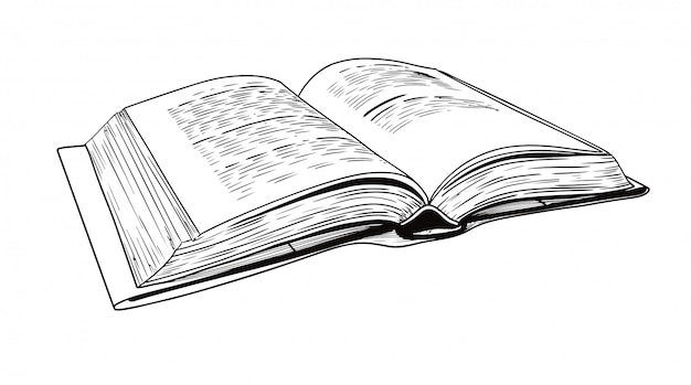 Реалистичная зарисовка раскрытой книги