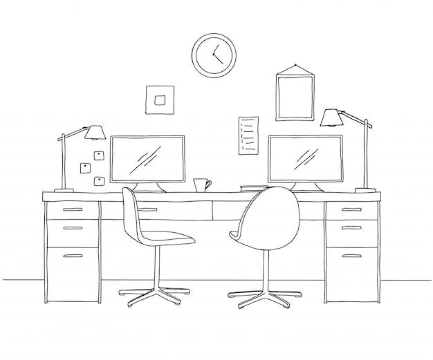 Нарисуйте комнату. офисный стул, письменный стол, различные предметы на столе. эскиз рабочей области.