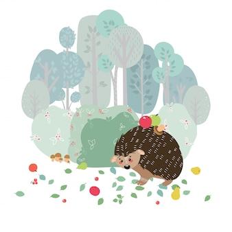 植物の背景にかわいいハリネズミ。北欧風の手描きイラスト。