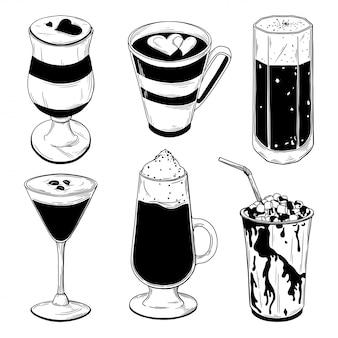 Набор различных кофейных коктейлей на белом фоне.