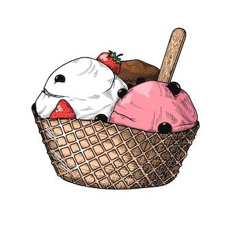 Реалистичный эскиз мороженого в вазе. иллюстрация