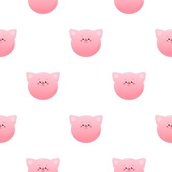 Симпатичные каваи свинья, пятачок. животное бесшовные модели.