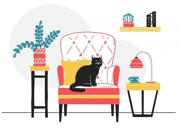 アームチェア、椅子の上の猫。