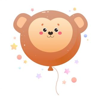 バルーンかわいいカワイイ猿。分離された動物