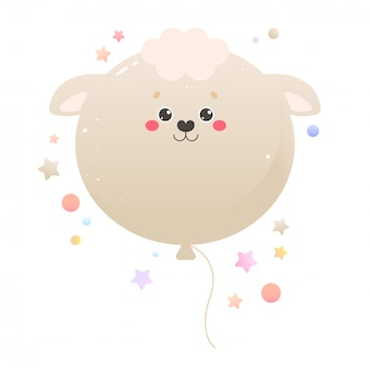 バルーンかわいいカワイイ羊、ラム。分離された動物