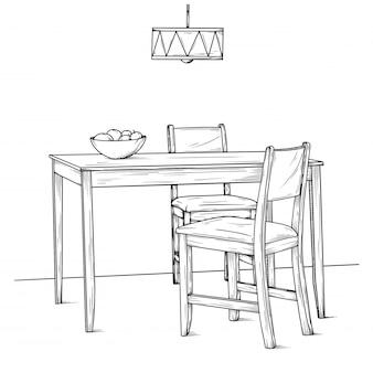 ダイニングルームの一部。テーブルと椅子。手描きのスケッチ。ベクター