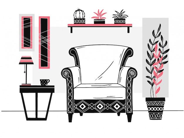 椅子、マグカップ付きテーブル。本と植物の棚。手描きのベクトル図