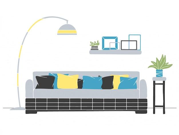 Интерьер в скандинавском стиле. часть комнаты. ручной обращается векторная иллюстрация