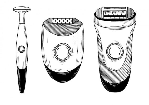 Набор различных эпиляторов, триммеров и бритвенных машин.