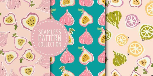 カラフルな手描きのイチジクとレモンのシームレスパターンコレクション