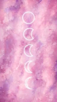 月の満ち欠けと銀河の水彩画の背景