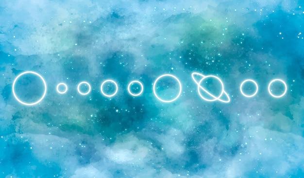 ネオンの太陽系と水彩銀河背景