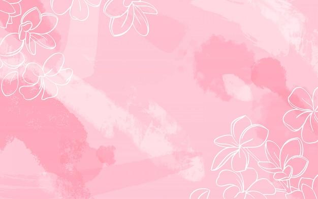 水彩画背景に白い花