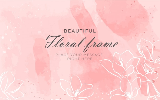 Красивая цветочная рамка с акварельным фоном
