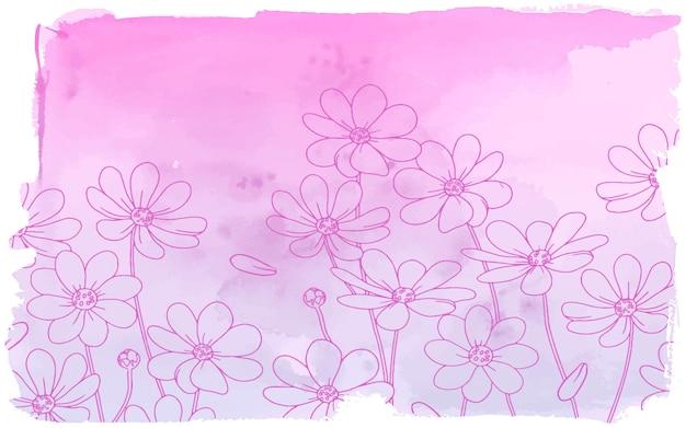 水彩画背景でピンクのヒナギク