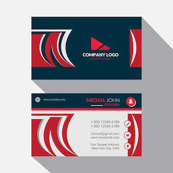 Красный корпоративный дизайн шаблона визитной карточки