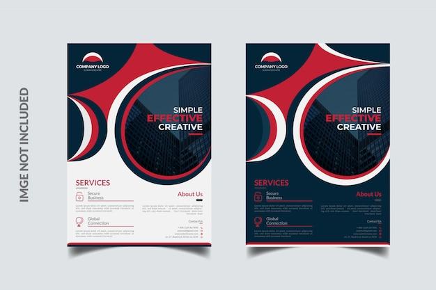 エレガントな赤と紺のビジネスチラシテンプレートデザイン