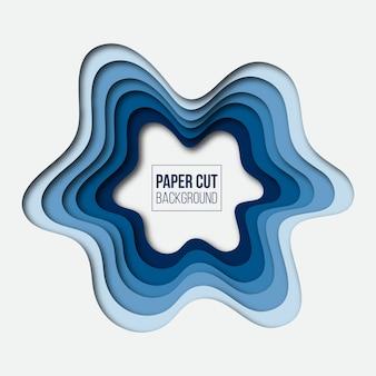 抽象的な現代的な青い紙カット背景