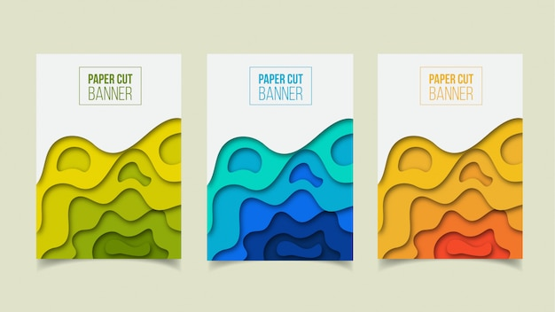 抽象的な現代紙カットカバーデザインセット